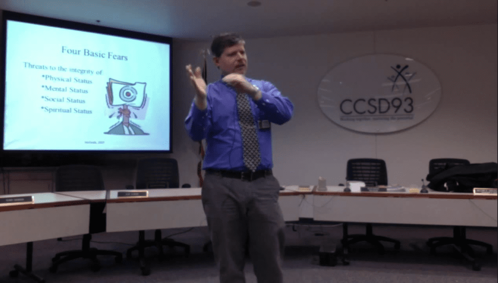 Patrick McGrath, PhD speaking at Community Consolidated School District 93